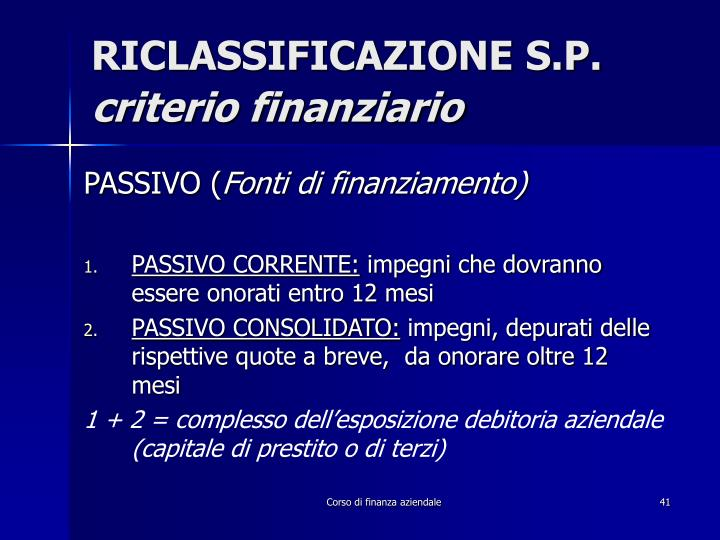 RICLASSIFICAZIONE S.P.