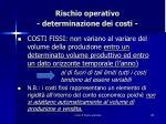 rischio operativo determinazione dei costi