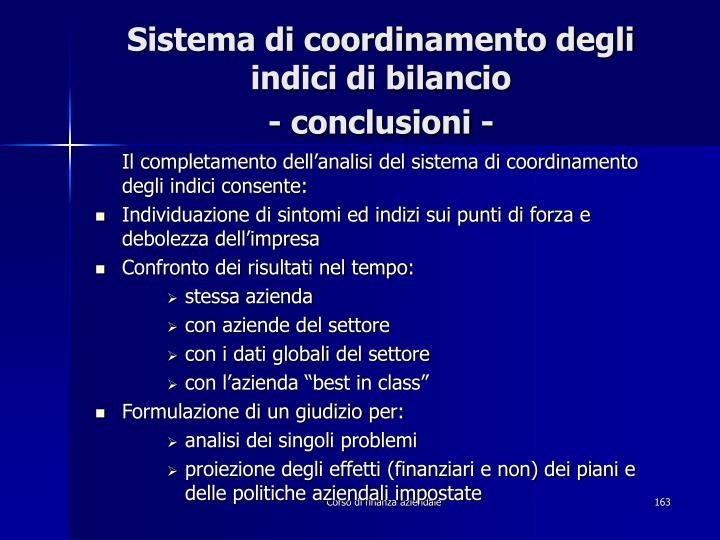Sistema di coordinamento degli indici di bilancio