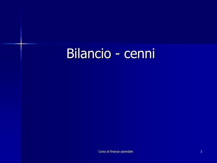 Bilancio - cenni