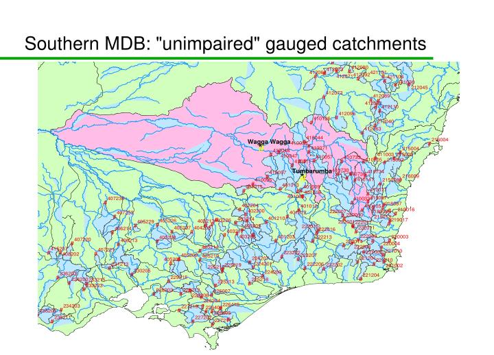 """Southern MDB: """"unimpaired"""" gauged catchments"""
