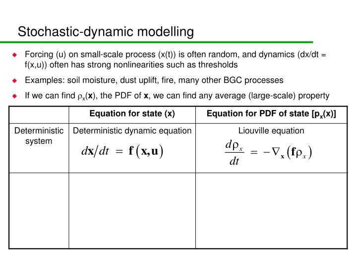 Stochastic-dynamic modelling