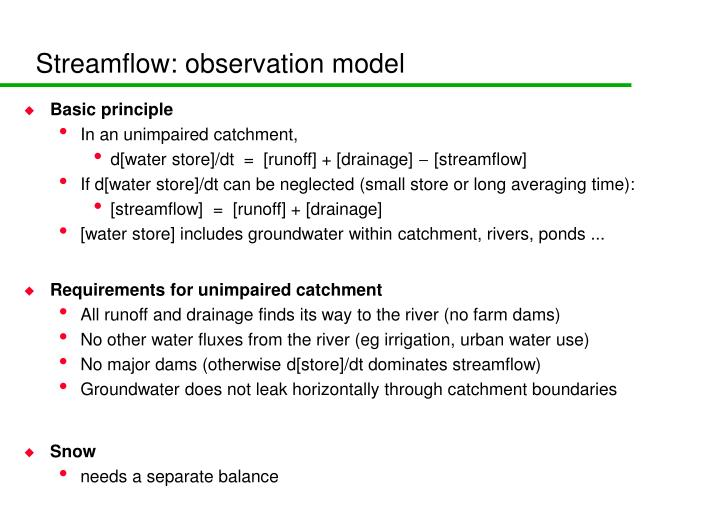 Streamflow: observation model