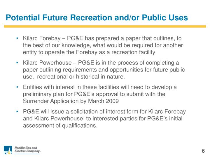 Potential Future Recreation and/or Public Uses