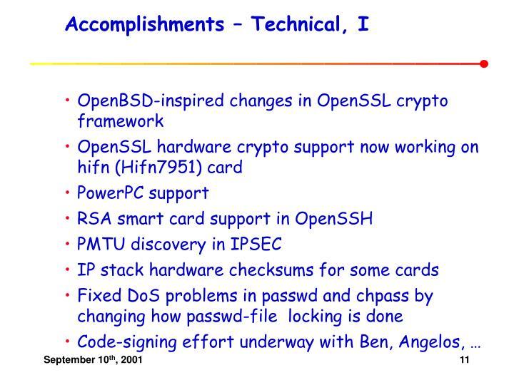 Accomplishments – Technical, I