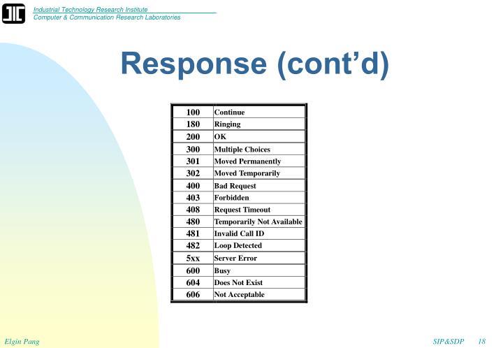 Response (cont'd)