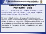 banco de programas de y proyectos s g r2