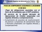 pago de compromisos adquiridos a diciembre 31 de 2012