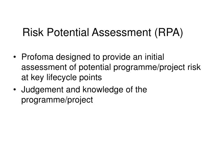 Risk potential assessment rpa