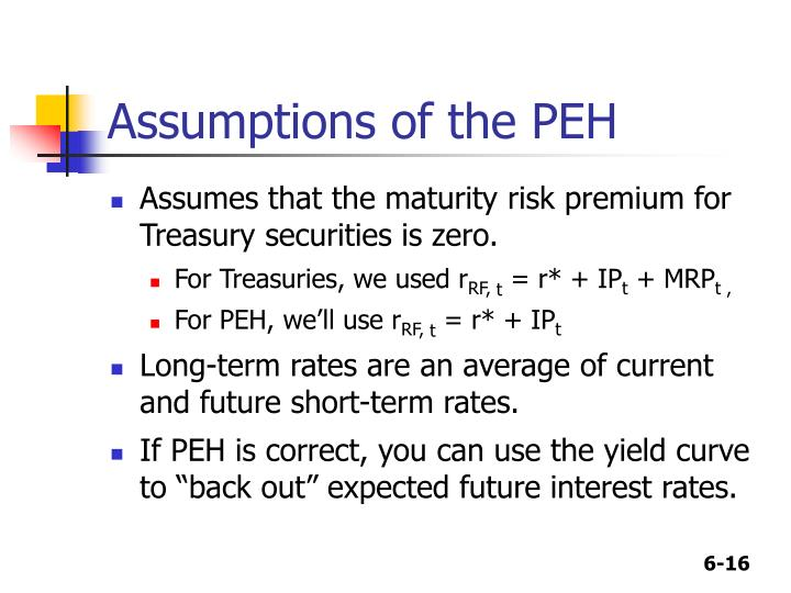 Assumptions of the PEH