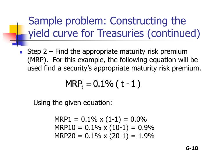 Sample problem: Constructing the yield curve for Treasuries (continued)