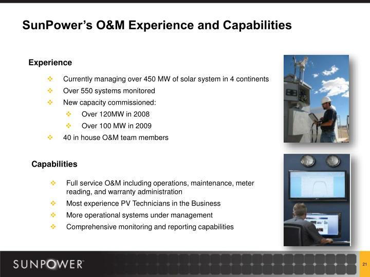 SunPower's O&M Experience and Capabilities