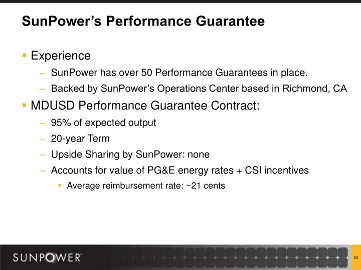 SunPower's Performance Guarantee