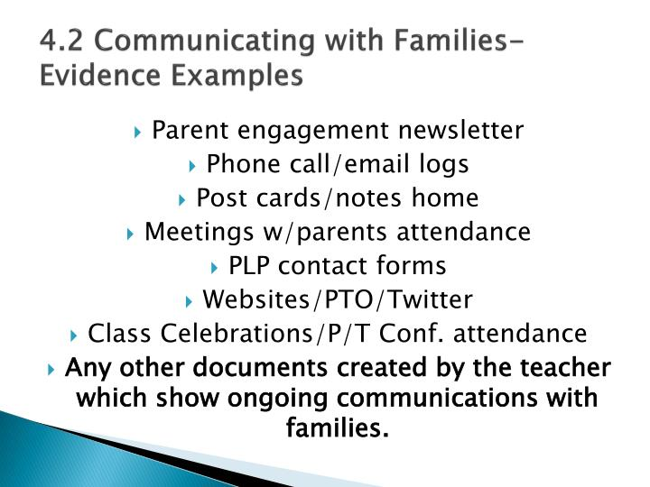 4 2 communicating with families evidence examples
