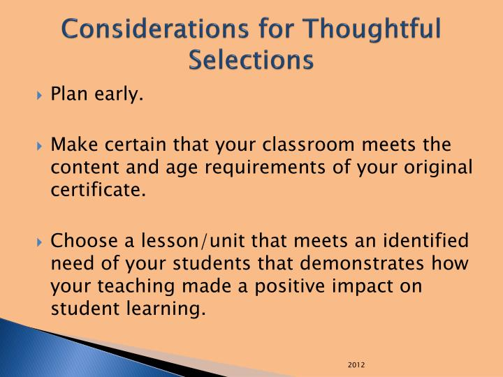 Considerations for Thoughtful Selections