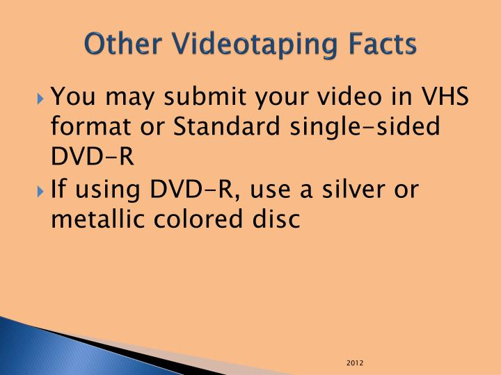 Other Videotaping Facts