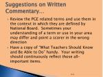 suggestions on written commentary
