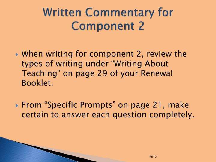 Written Commentary for Component 2