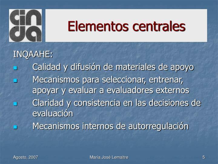 Elementos centrales
