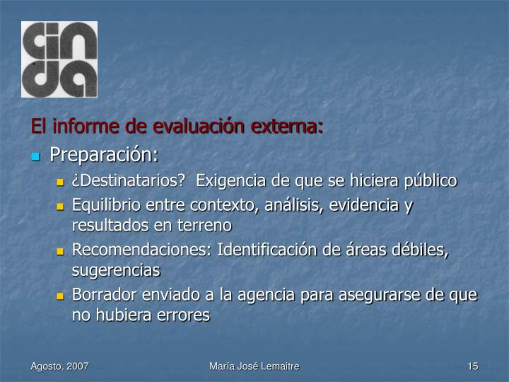 El informe de evaluación externa: