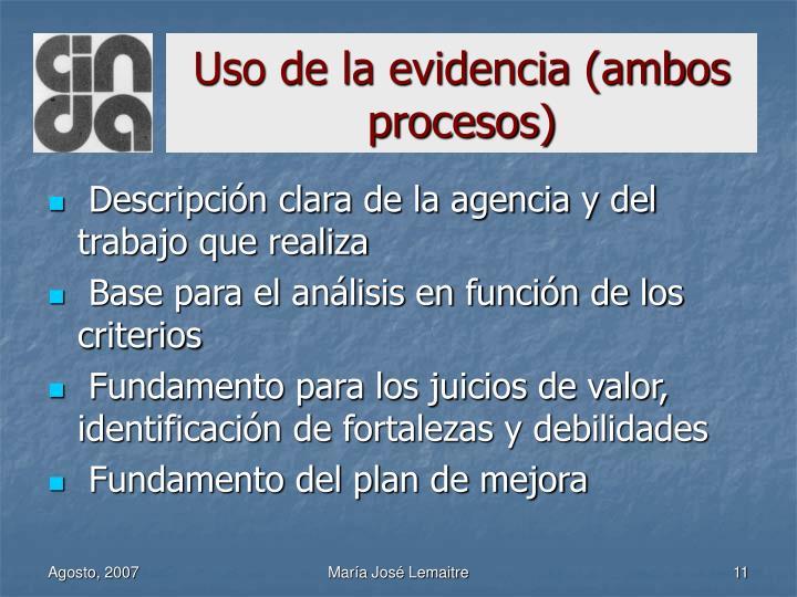 Uso de la evidencia (ambos procesos)