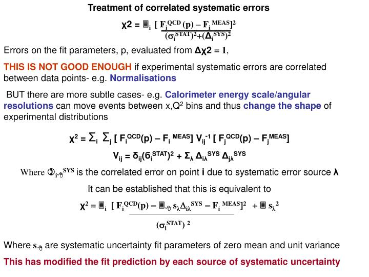 Treatment of correlated systematic errors