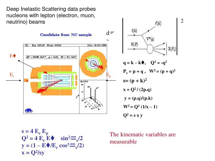 Deep Inelastic Scattering data probes nucleons with lepton (electron, muon, neutrino) beams
