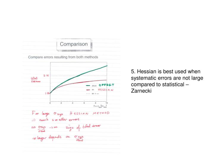 5. Hessian is best used when systematic errors are not large compared to statistical – Zarnecki