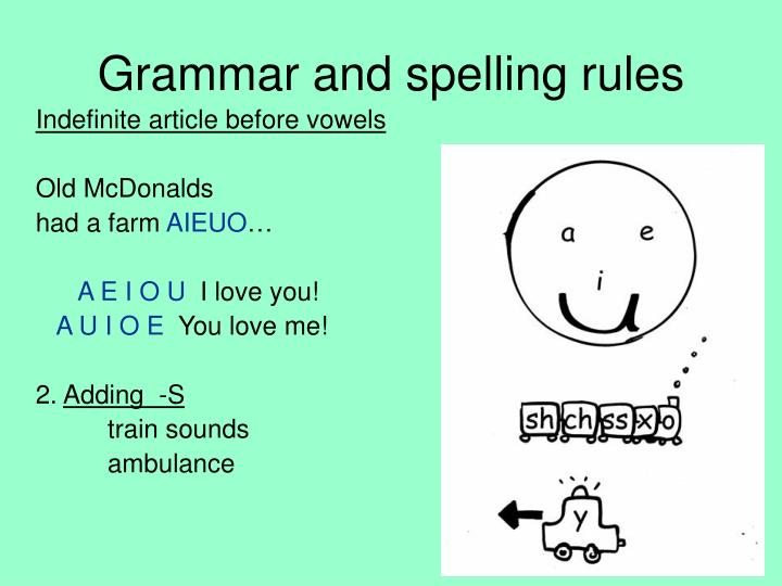 Grammar and spelling rules