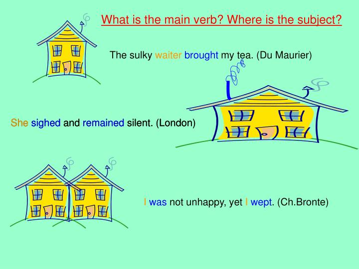 What is the main verb? Where is the subject?