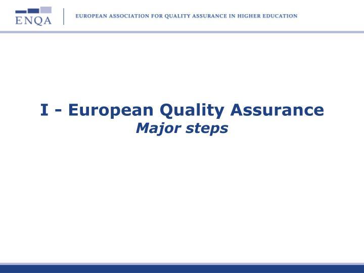 I - European Quality Assurance