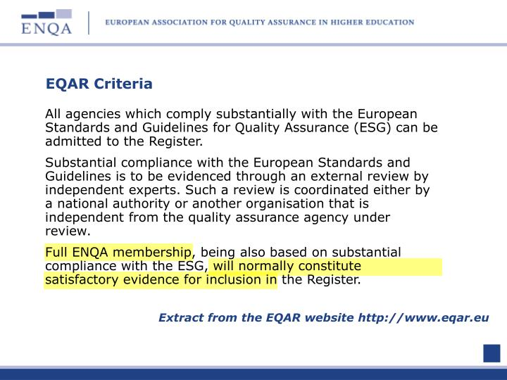 EQAR Criteria