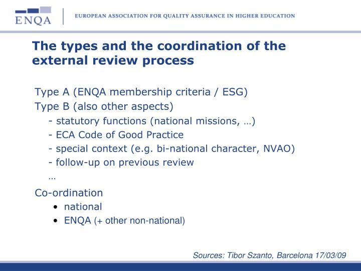 The types and the coordination of the external review process