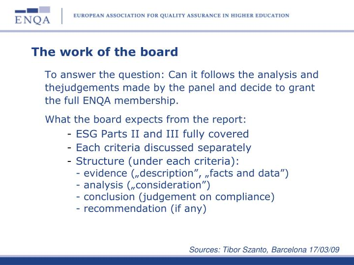 The work of the board