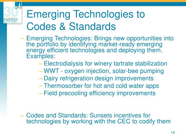 Emerging Technologies to Codes & Standards