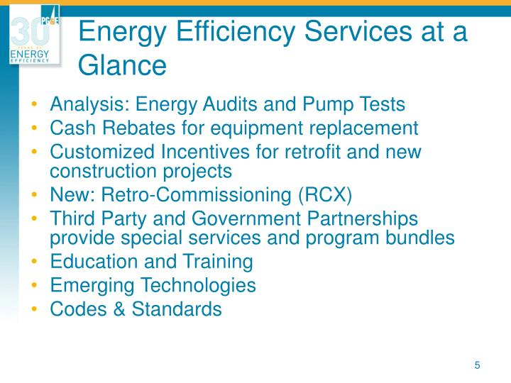 Energy Efficiency Services at a Glance