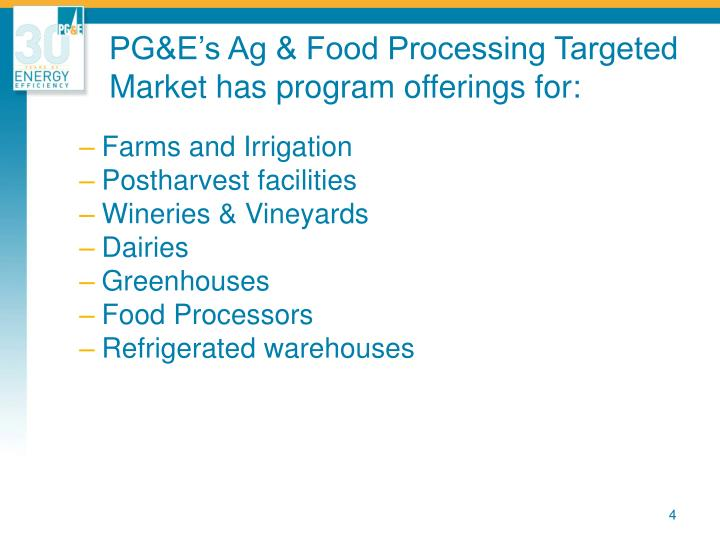 PG&E's Ag & Food Processing Targeted Market has program offerings for: