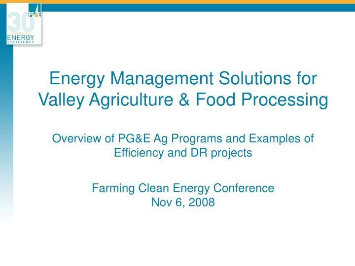Energy Management Solutions for