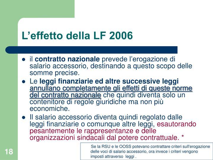 L'effetto della LF 2006