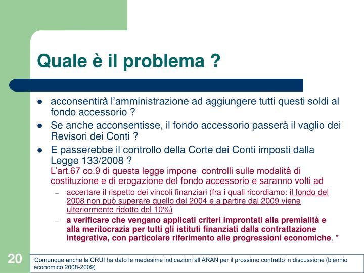 Quale è il problema ?