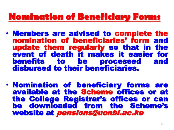 Nomination of Beneficiary Forms
