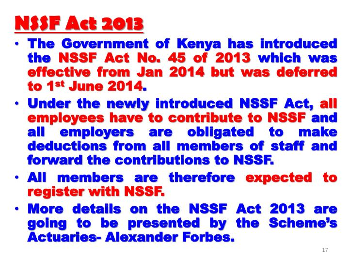 NSSF Act 2013