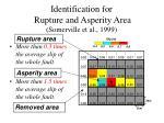 identification for rupture and asperity area somerville et al 1999