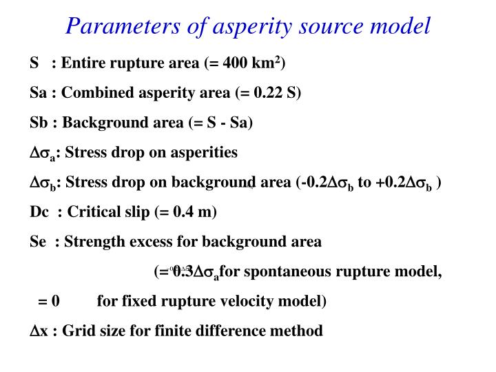 Parameters of asperity source model
