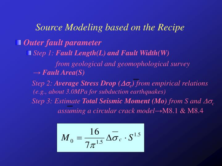 Source Modeling based on the Recipe