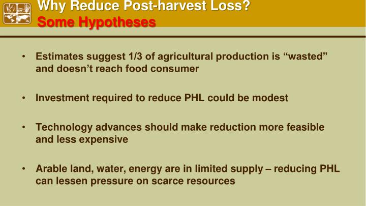 Why Reduce Post-harvest Loss?