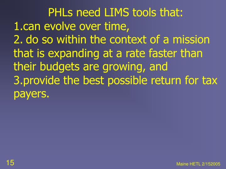 PHLs need LIMS tools that: