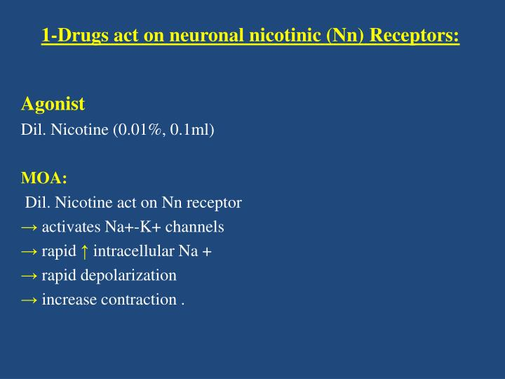 1 drugs act on neuronal nicotinic nn receptors