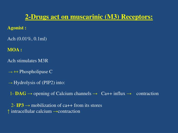 2-Drugs act on muscarinic (M3) Receptors: