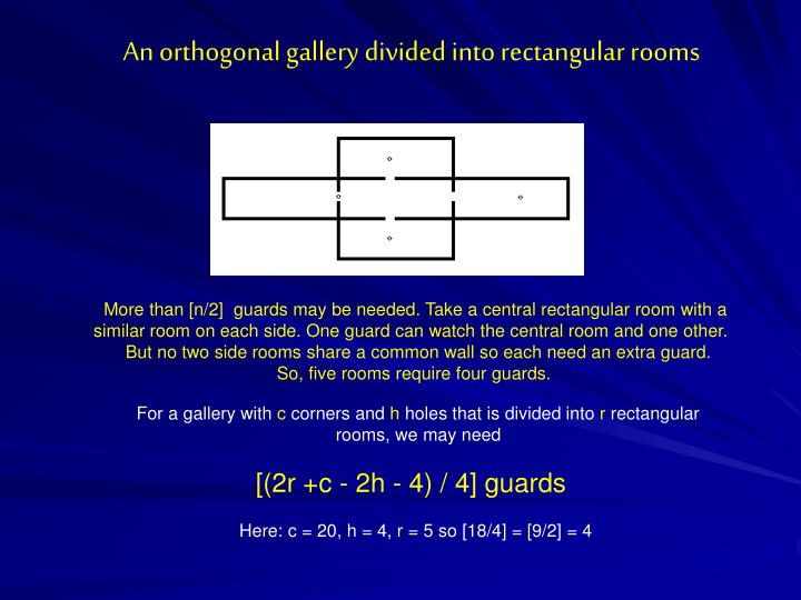 An orthogonal gallery divided into rectangular rooms